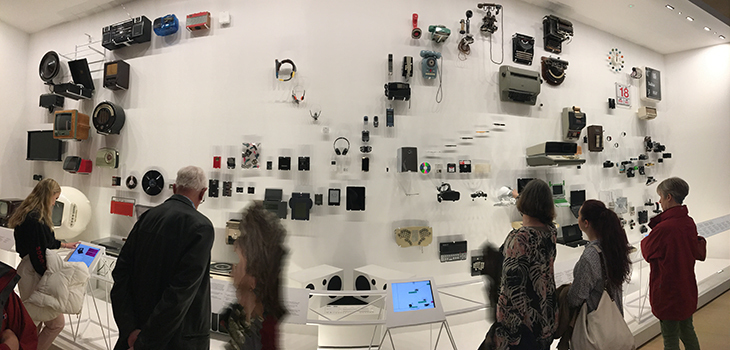 A wall dedicated to the evolution of our favourite tech gadgets, including cameras, music players and watches